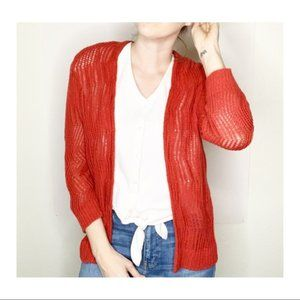 LOFT Open Knit Open Front Cardigan Red Small